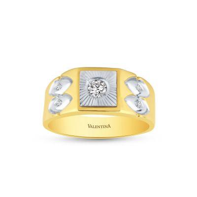 Pánsky prsteň zo žltého a bieleho zlata