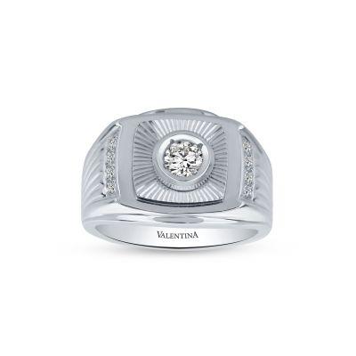 Pánsky prsteň z bieleho zlata so zirkónom