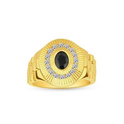 Pánsky prsteň zo žltého zlata s ónyxom