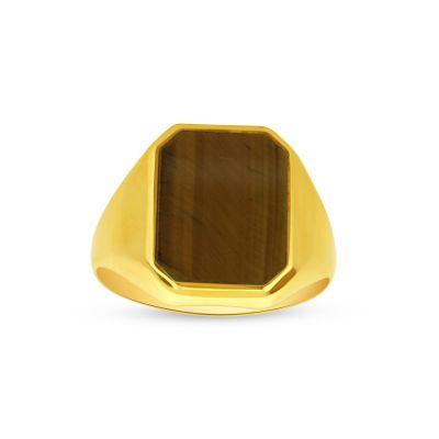 Pánsky prsteň zo žltého zlata s tigrím okom
