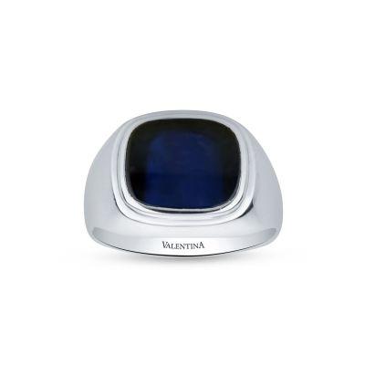 Pánsky prsteň z bieleho zlata so zafírom