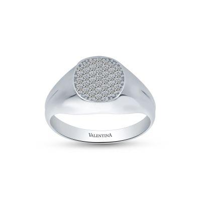 Pánsky prsteň z bieleho zlata so zirkónmi