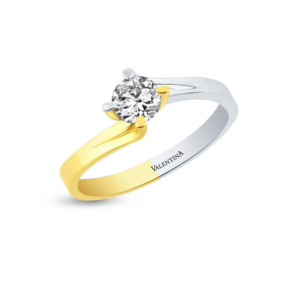 Prsteň z bieleho a žltého zlata