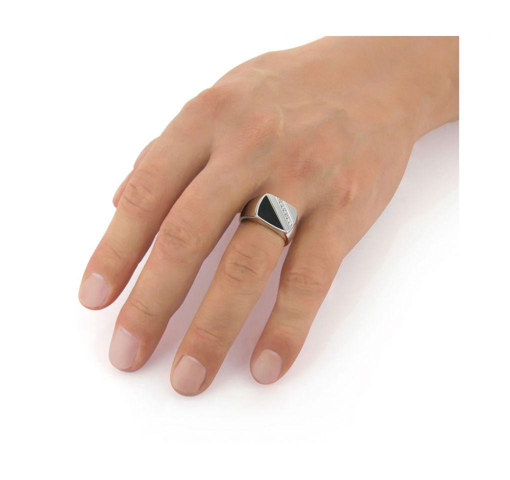 Pánsky prsteň z bieleho zlata s ónyxom
